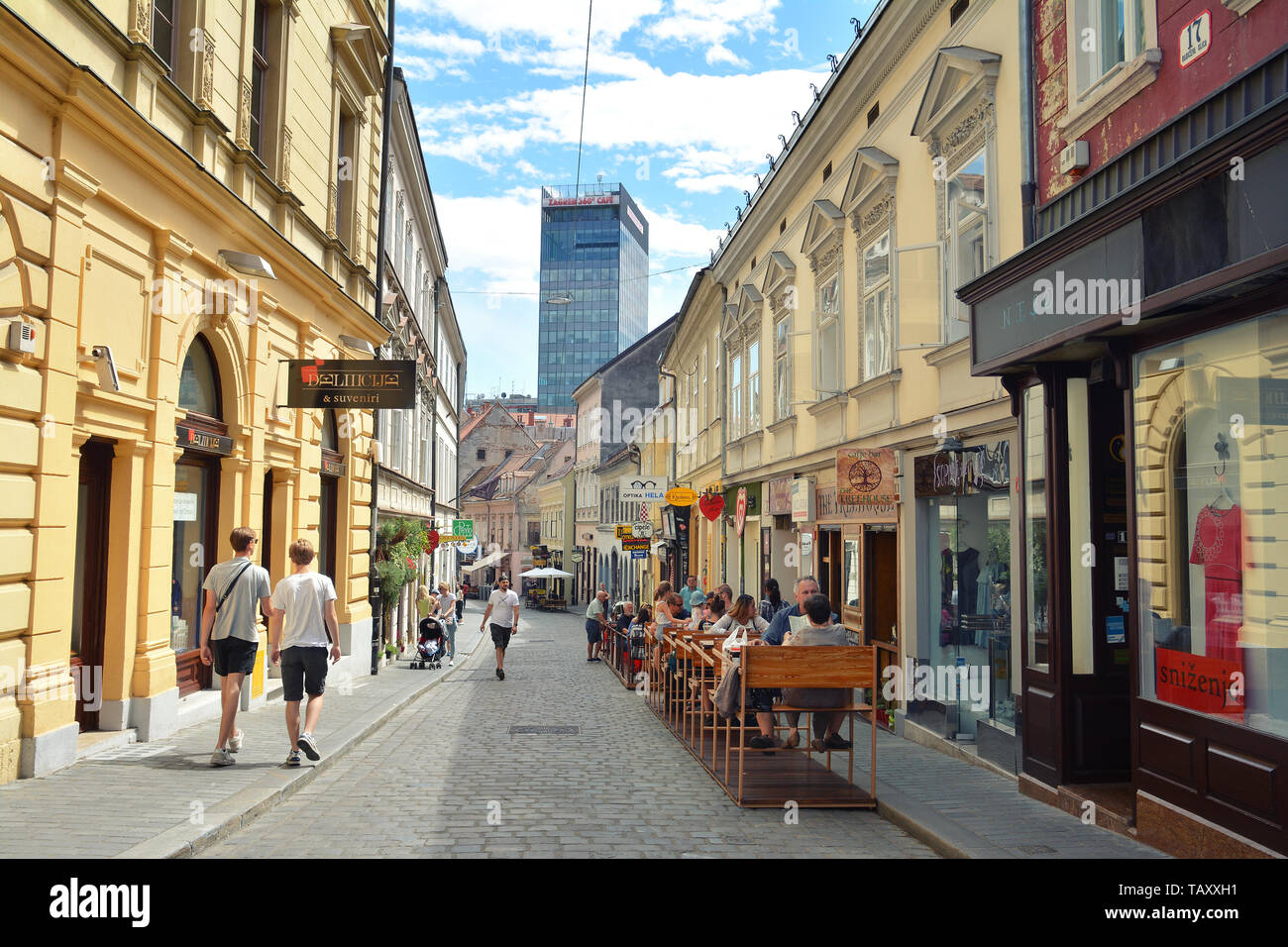 Zagreb Croatia July 15 2017 Radiceva Street View In Old Town Of Zagreb With Zagreb 360 Cafe And Observation Deck Croatia Stock Photo Alamy