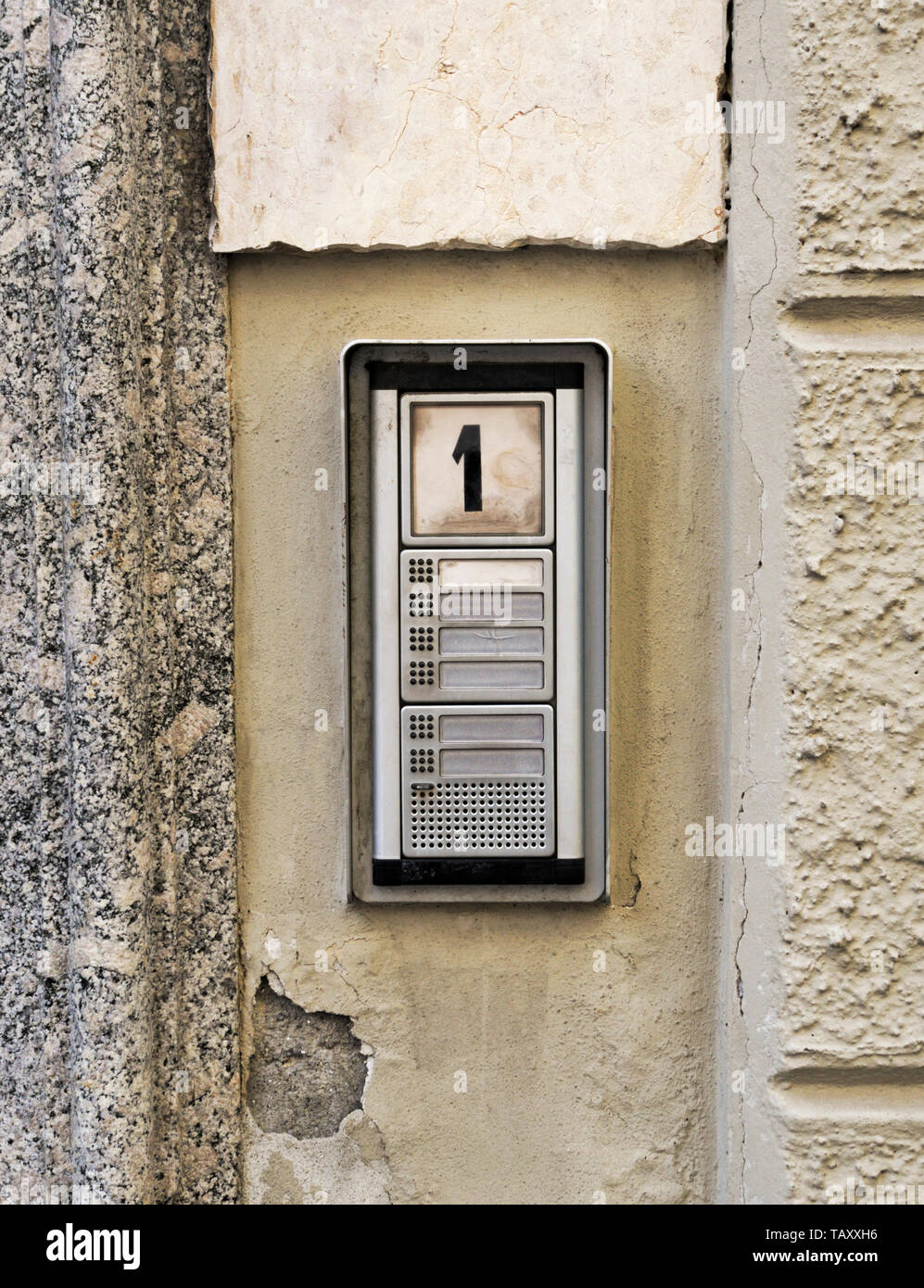 door buzzers of a house number 1, Italy - Stock Image