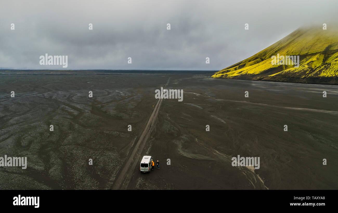 Maelifellssandur, Brennivinskvisl river, Iceland. This image is shot using a drone. - Stock Image
