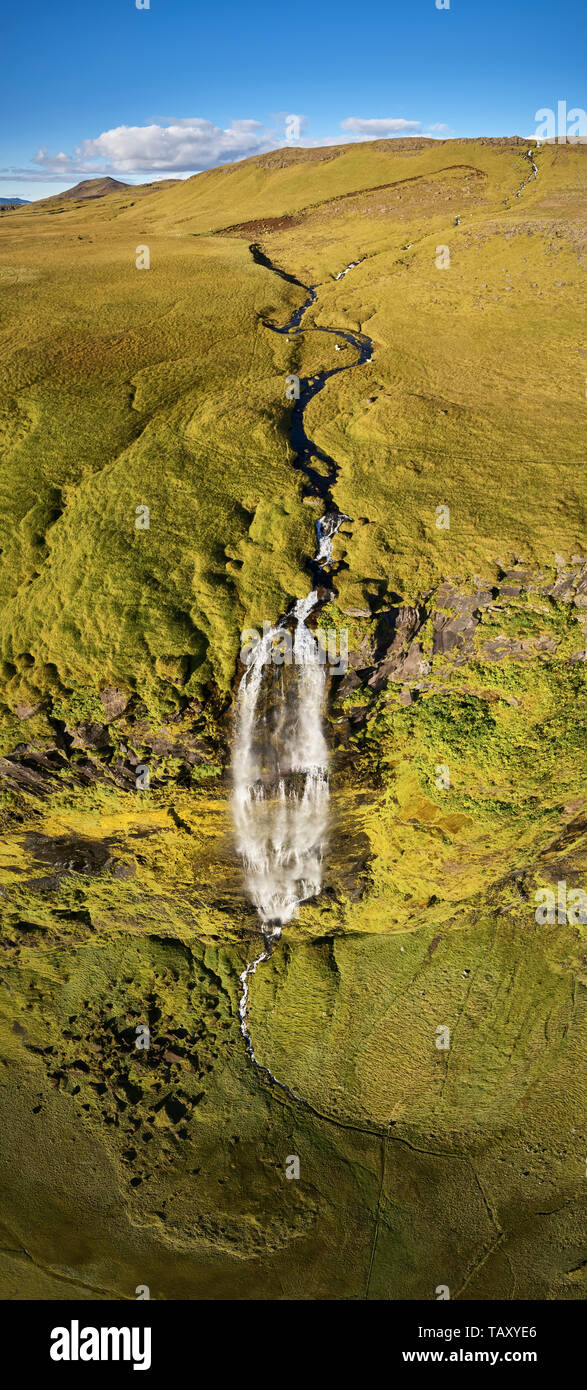 Drifandi waterfall, Eyjafjoll area, Iceland. This image is shot using a drone. - Stock Image