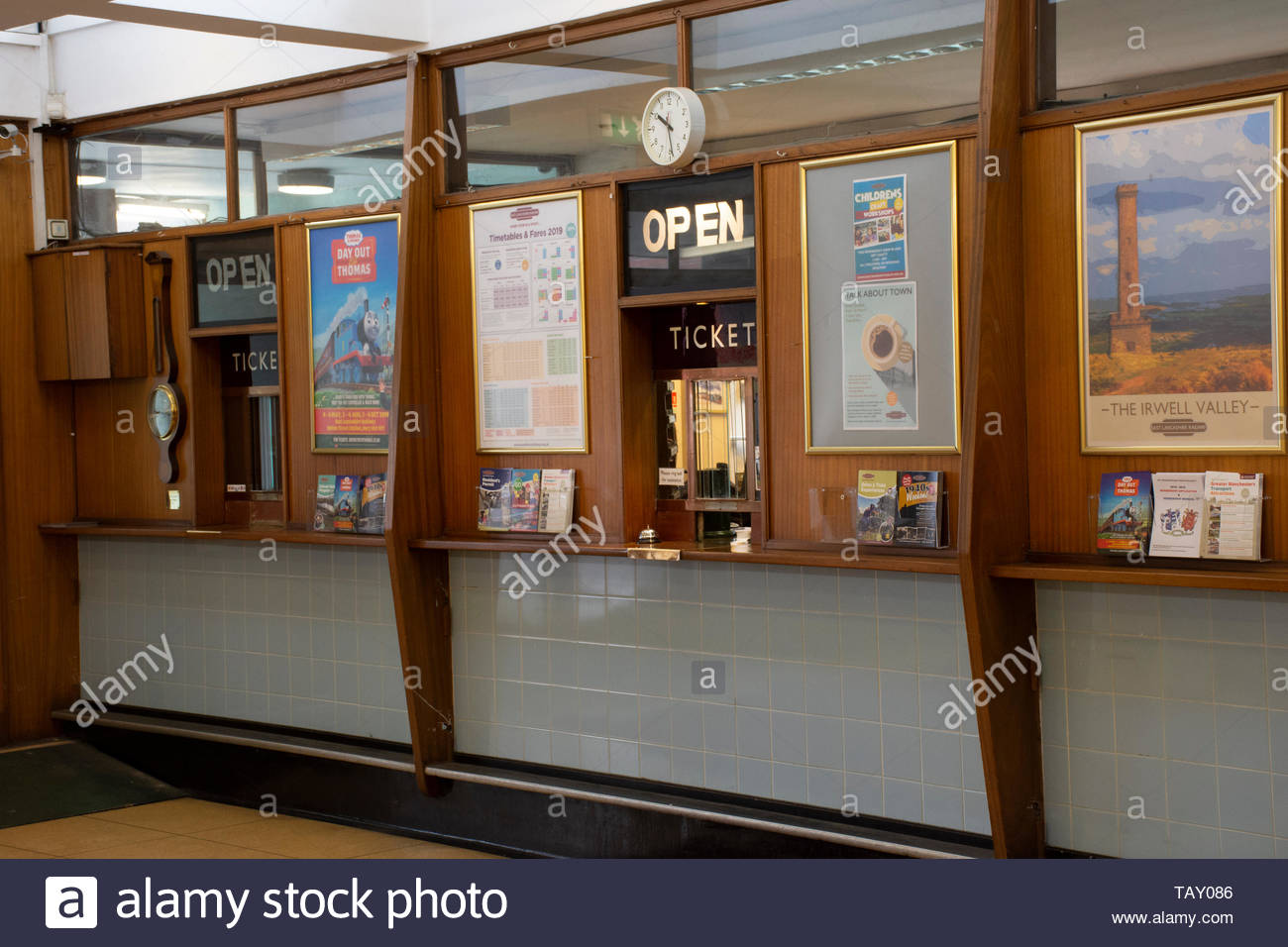 The wooden preserved Ticket Counter at the East Lancs Railway, Bury, Lancashire, UK, featured in an episode of 'The Bay' crime drama. - Stock Image