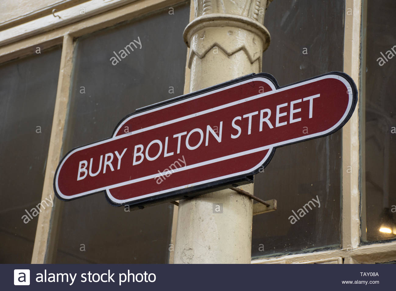Sign for Bury Bolton Street station on the East Lancs Railway, a heritage line in Bury, Lancashire, UK - Stock Image