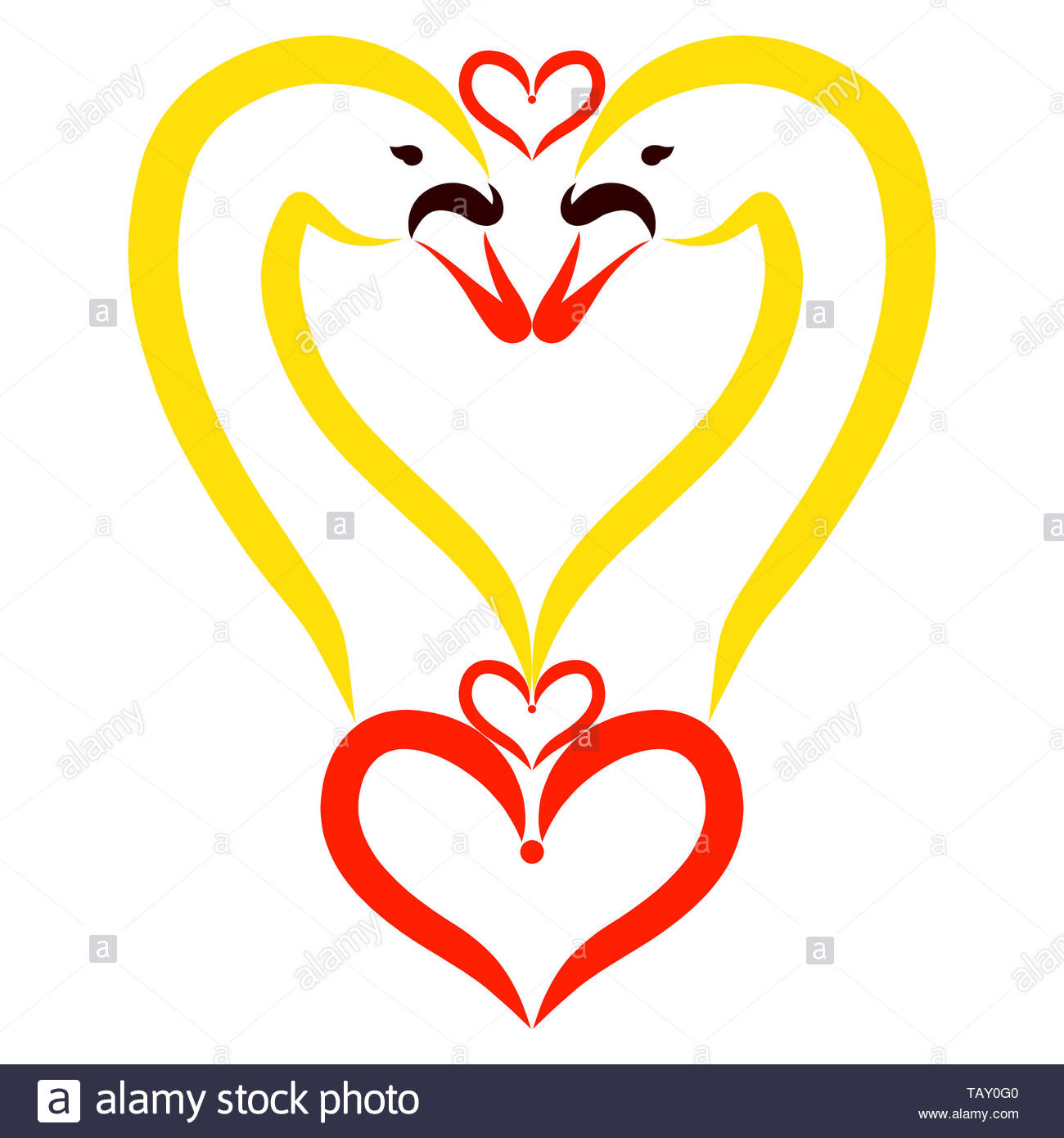heart of beautiful swans, love and tenderness Stock Photo