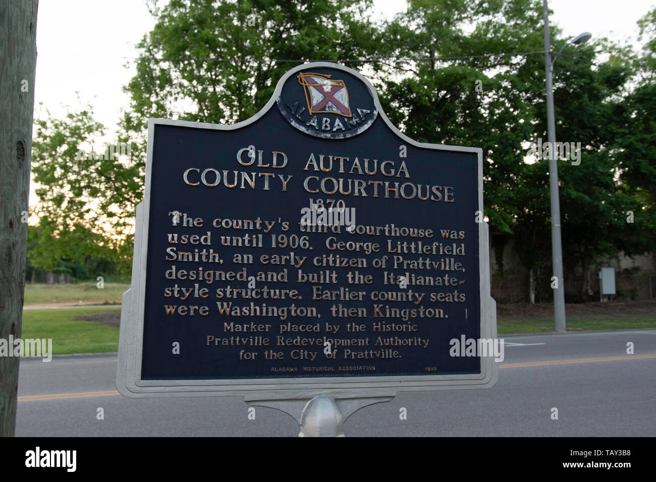 Prattville, Alabama/USA-May 2, 2019: Historical marker for