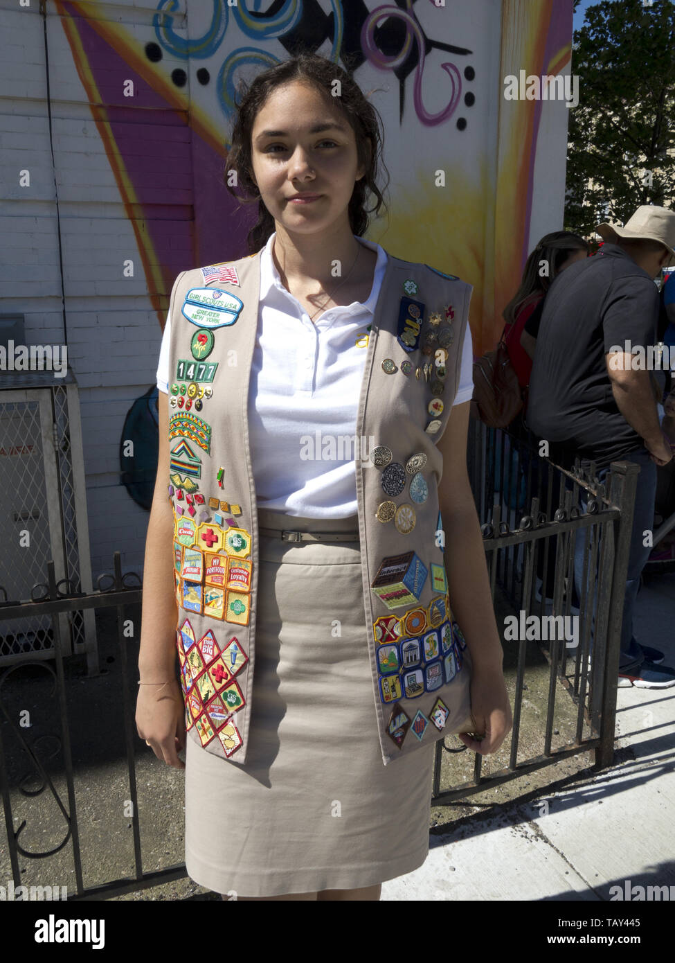 Sixteen year old, Ambassador Girl Scout at The Kings County 152nd Memorial Parade in the Bay Ridge section of Brooklyn, NY, May 27, 20019. Her many me - Stock Image
