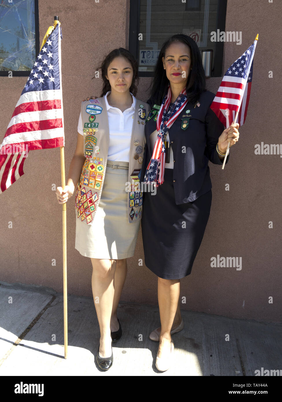 Sixteen year old, Ambassador Girl Scout and her troop leader mother at The Kings County 152nd Memorial Parade in the Bay Ridge section of Brooklyn, NY - Stock Image