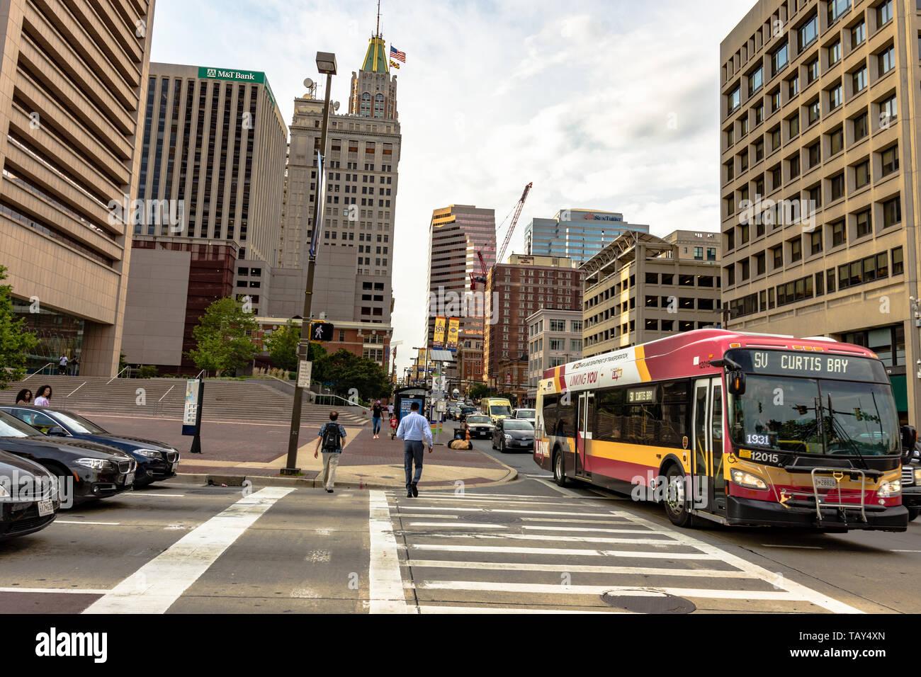 Baltimore, Maryland, USA - July 11, 2017: Traffic and