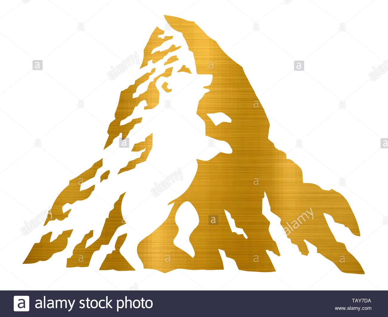 alpine mountain valley rocky snow winter ice illustration golden metallic - Stock Image