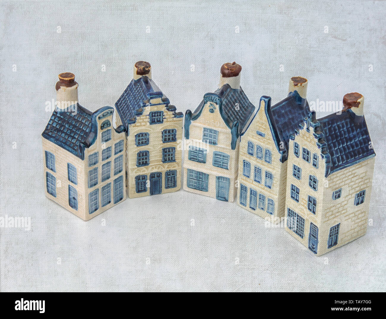 Dutch historical ceramic houses in Delft china in half a circle - Stock Image