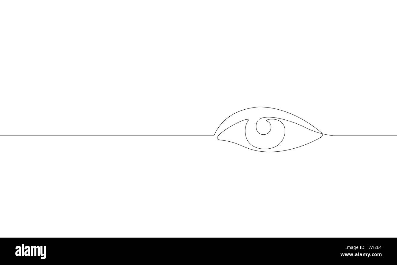 Single continuous one line art female watch eye. Beauty salon woman girl sight concept design sketch outline drawing vector illustration Stock Vector