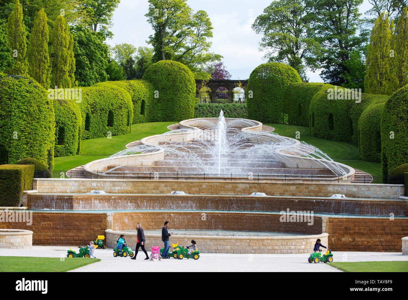 The Water Feature At Alnwick Castle Gardens Northumberland Uk