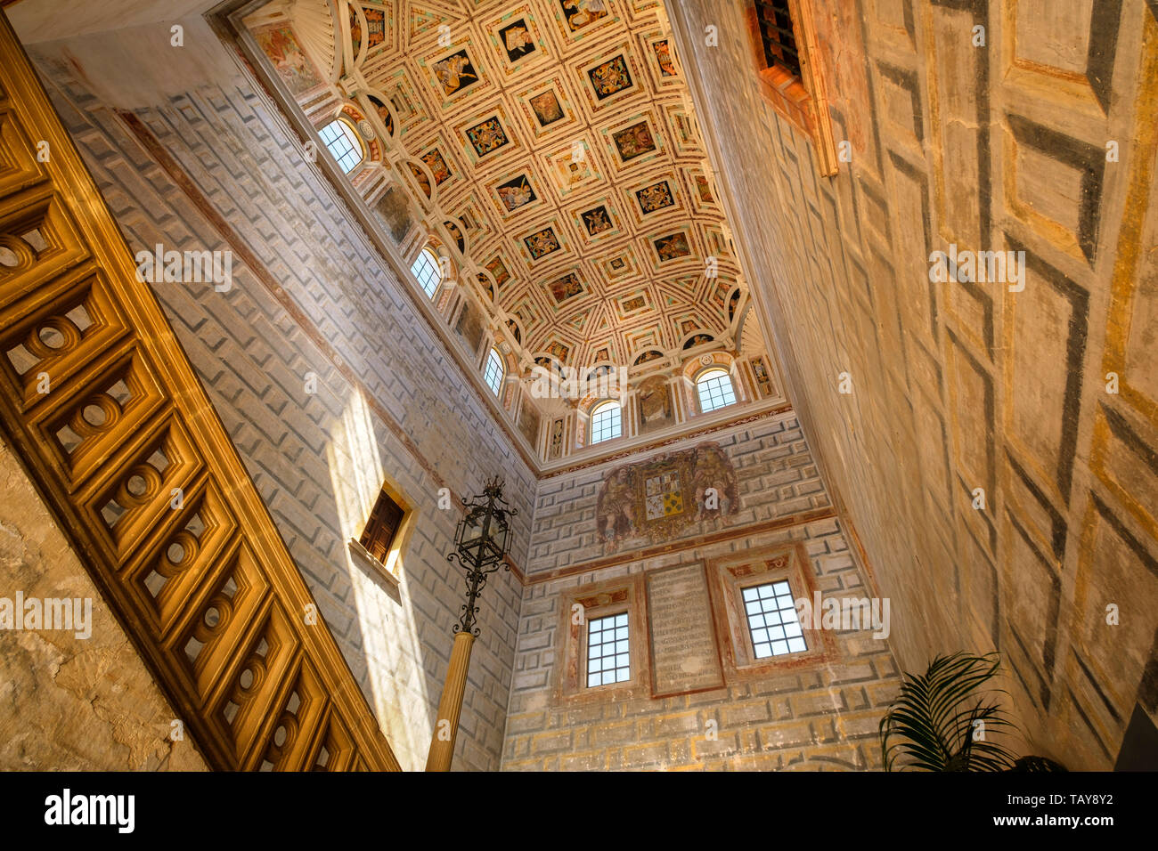 Courtyard of Hospital de Santiago, monumental staircase. Ubeda, Jaén province. southern Andalusia. Spain Europe Stock Photo