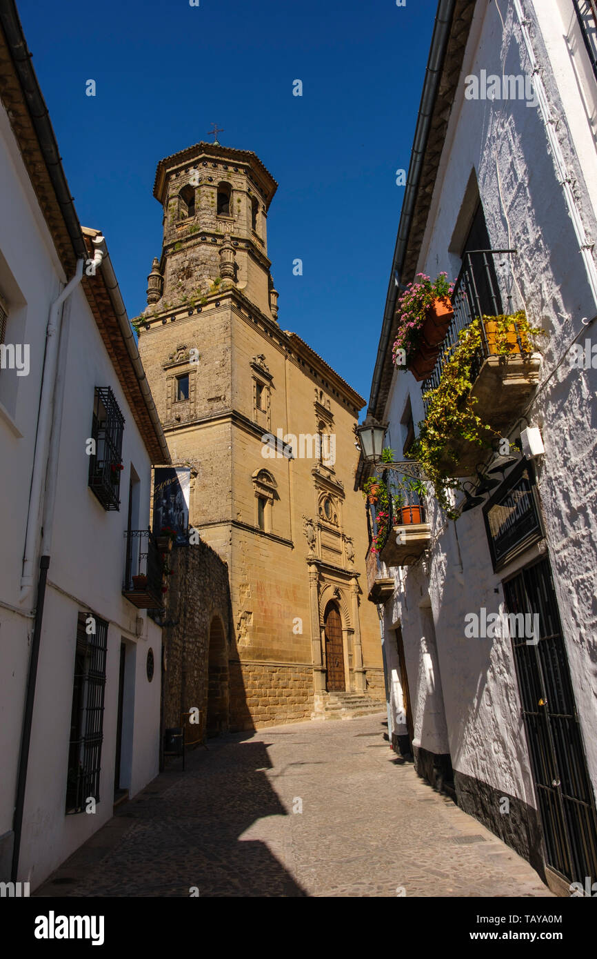 Typical street and building of the old university. Baeza, Jaén province. southern Andalusia. Spain Europe - Stock Image