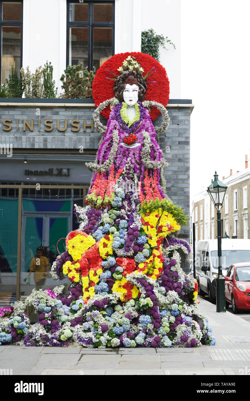 Chelsea in Bloom London, UK. Japanese sea goddess with floral kimono, floral art. Florist: Inwater Flowers. Royal Borough of Kensington and Chelsea. - Stock Image