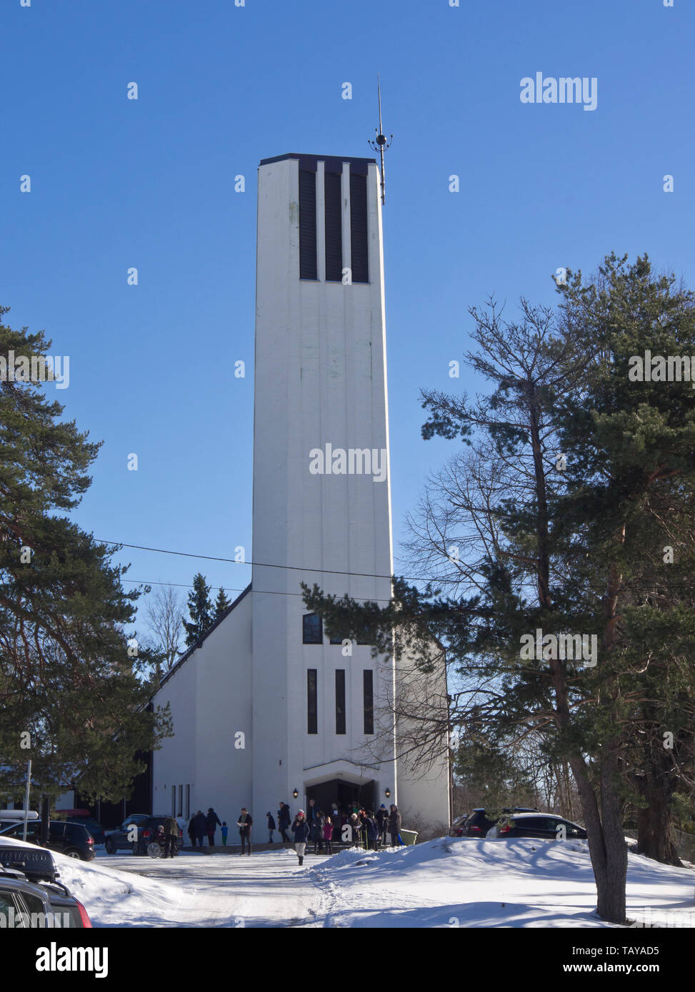Nordberg church from 1962 in a suburb in Oslo Norway, architects Turid and Kristen Bernhoff Evensen - Stock Image