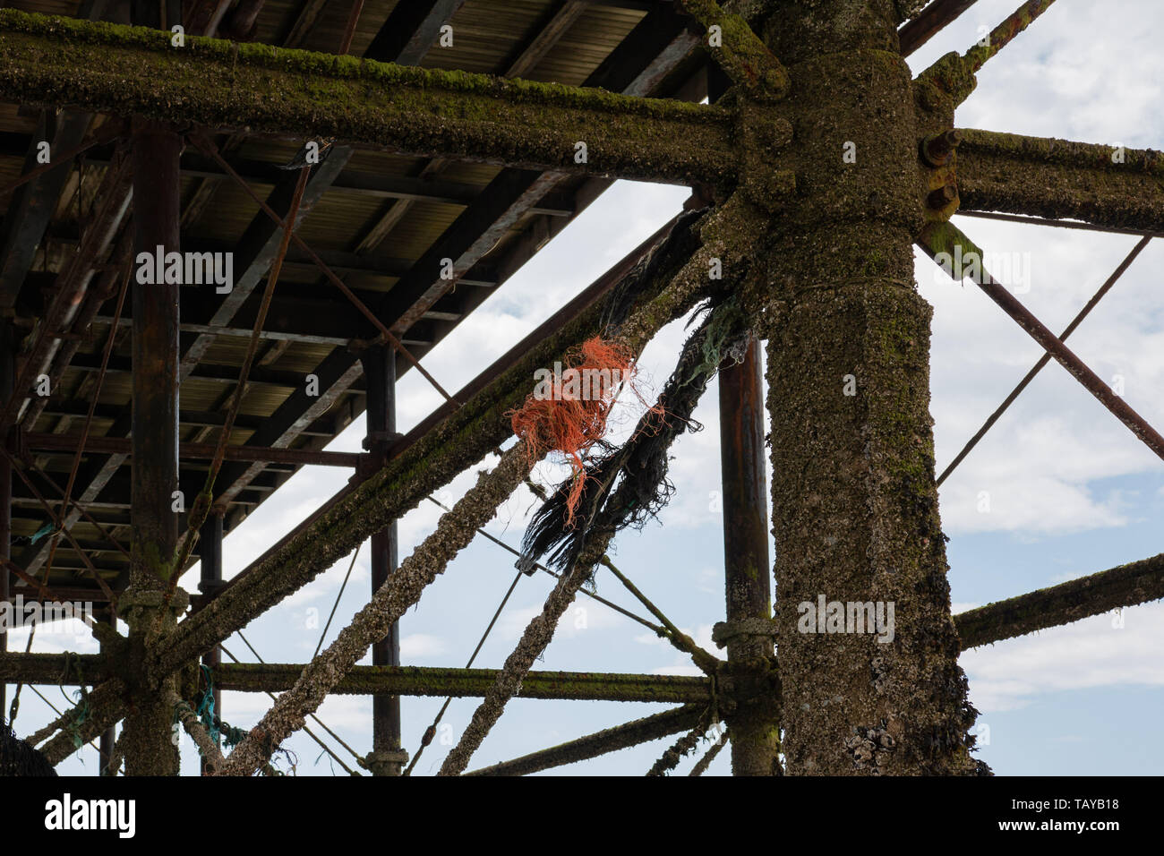 plastic fishing line tangle on the underside of the pier in Worthing, West Sussex - Stock Image