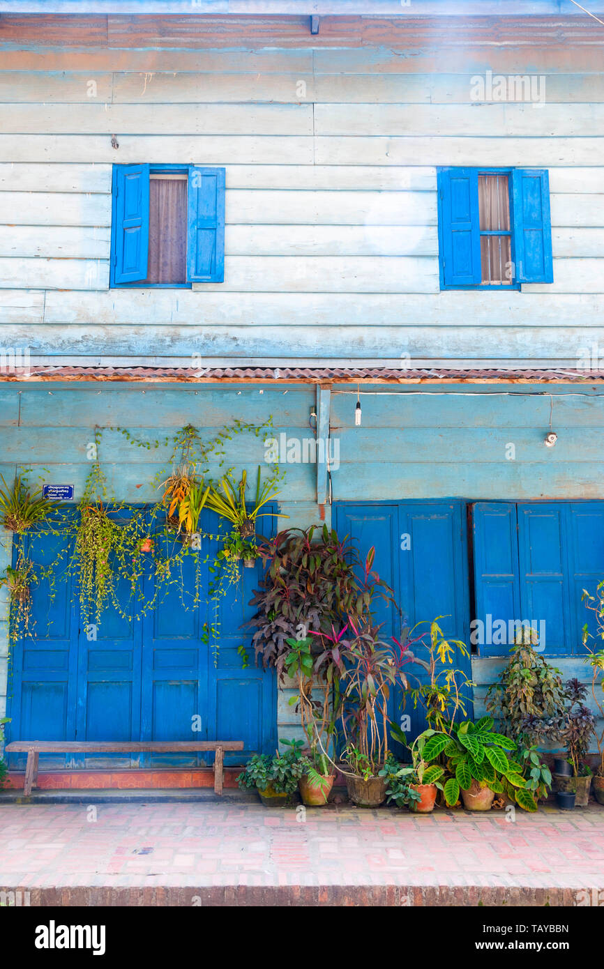 Blue Building With Shutters French Colonial Style Luang