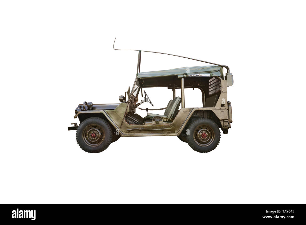 old retro 4x4 suv car blue color isolated on white background. M151 MUTT is an American army all-terrain vehicle, the successor to the army M38 and M3 - Stock Image