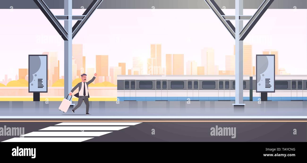 businessman running to catch train business man with luggage on railway station city public transport male cartoon character cityscape background full - Stock Vector