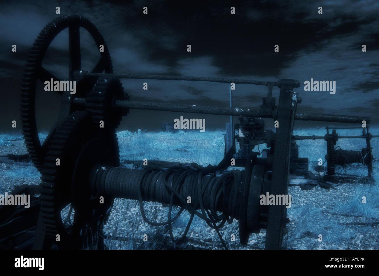 infrared image - rope winch - shingle beach - dungeness - romney marsh - kent - UK - Stock Image