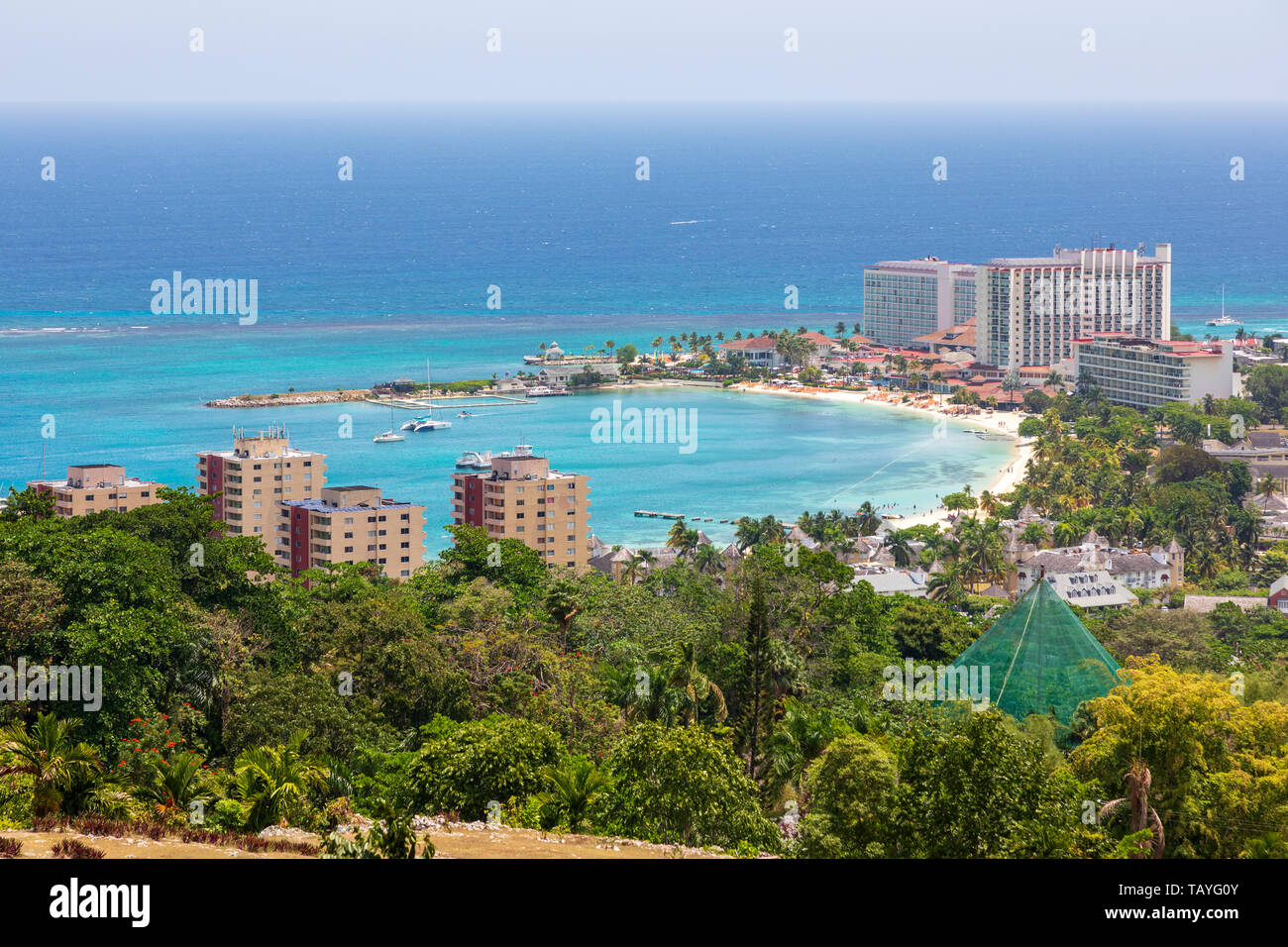 High view of Ocho Rios village, in St Ann's Parish, Jamaica, - Stock Image