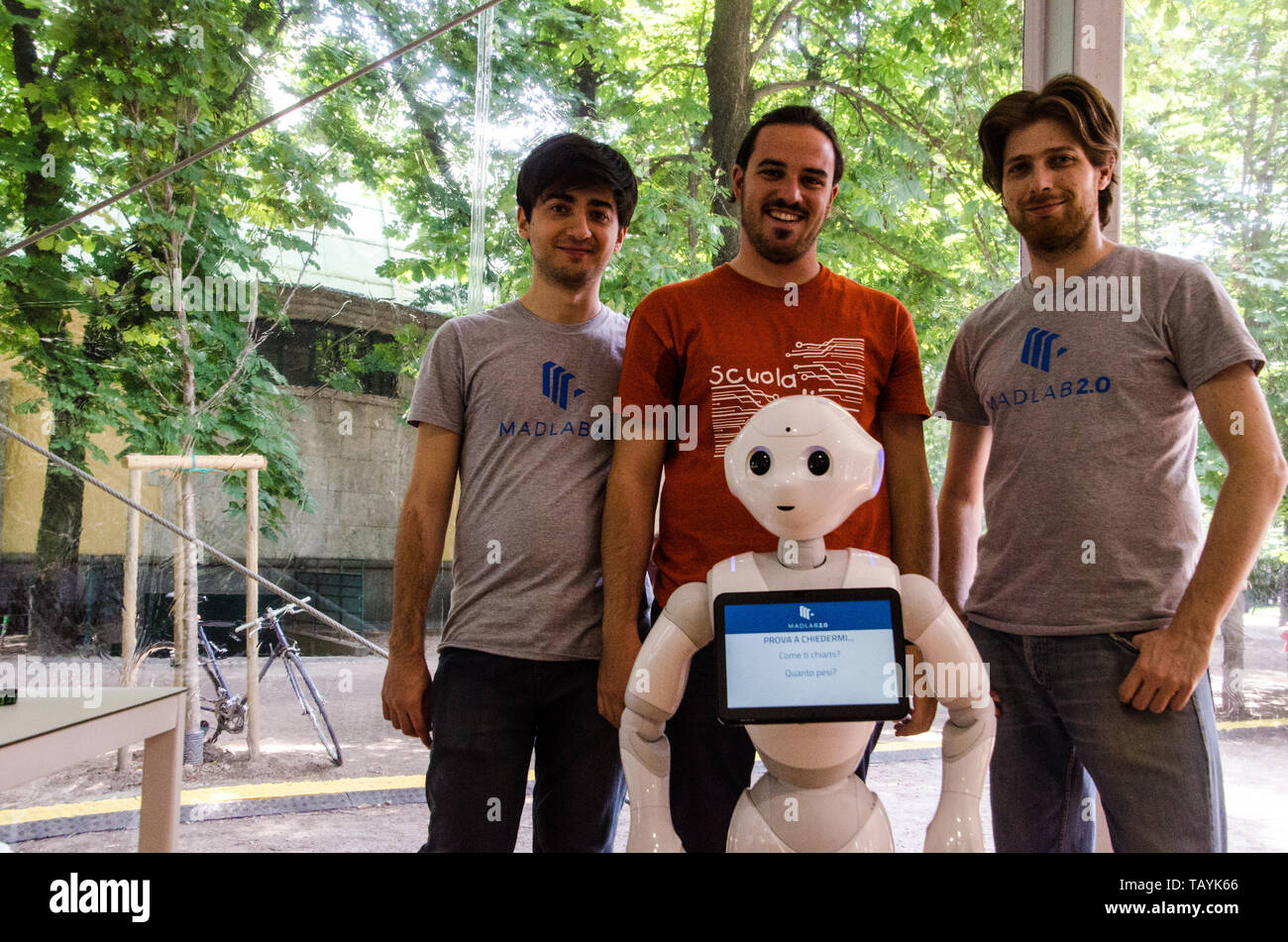Filippo Bogliolo, Marco Andreana and Fabrizio La Rosa from Madlab 2.0 and School of robotics at Wired Next Fest. Milan, May 25th, 2019 - Stock Image
