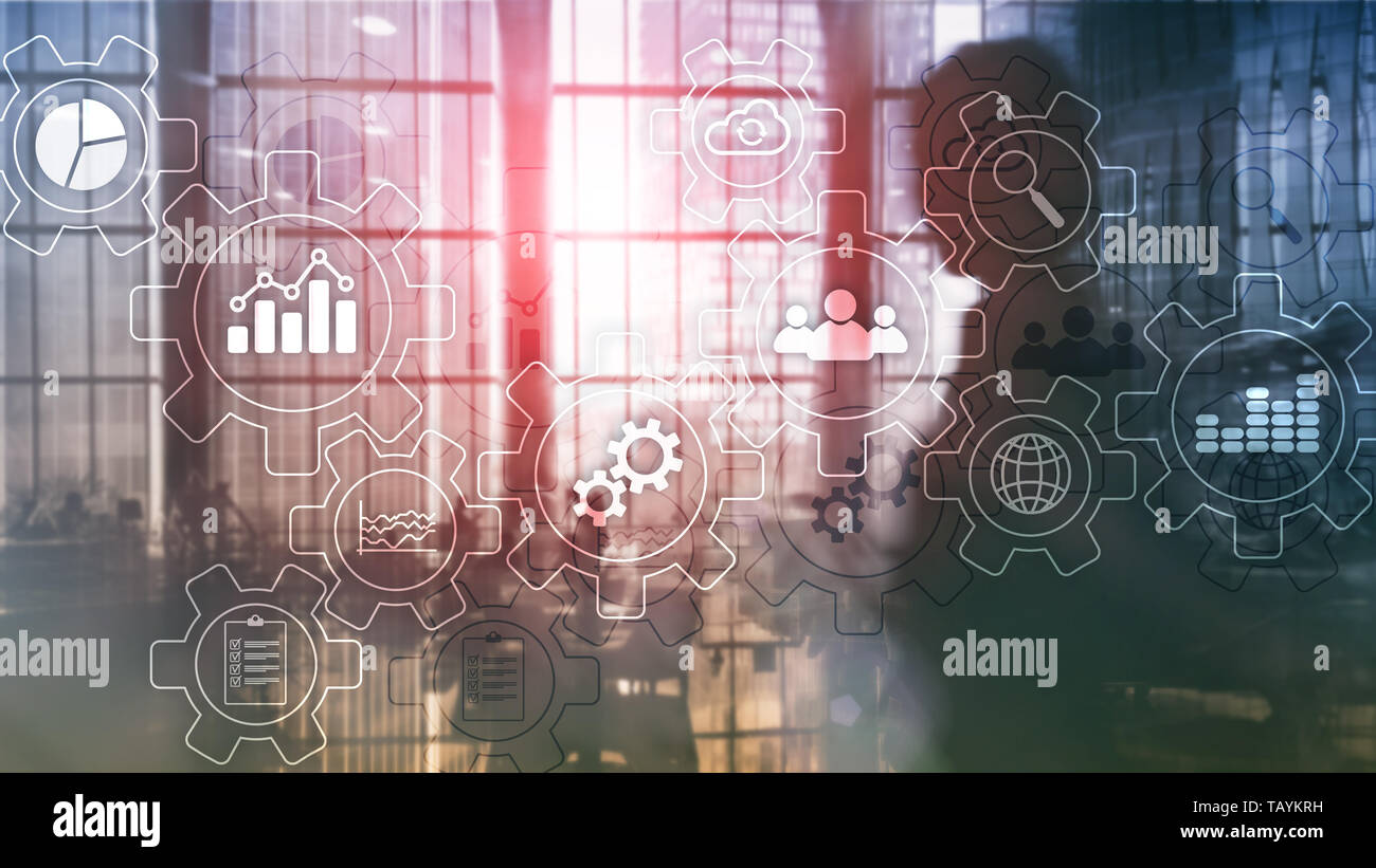 Business process abstract diagram with gears and icons. Workflow and automation technology concept. - Stock Image