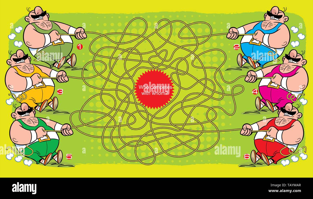 Puzzle maze with several athletes who pull the rope. Vector illustration for educational and entertainment programs for children. - Stock Image