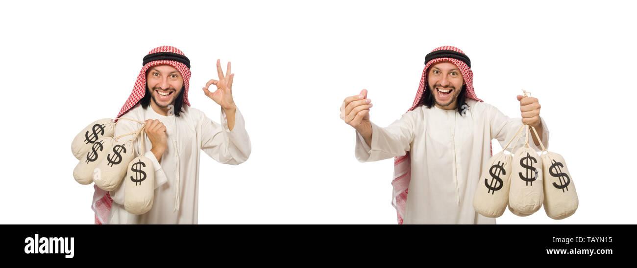 Arab businessman with sacks of money - Stock Image