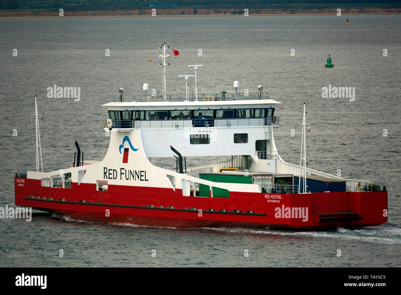 Red Funnel,Red Kestrel,lorry,truck,vehicle,ferry, specialist,leaving,Cowes, isle of Wight, England, UK, - Stock Image