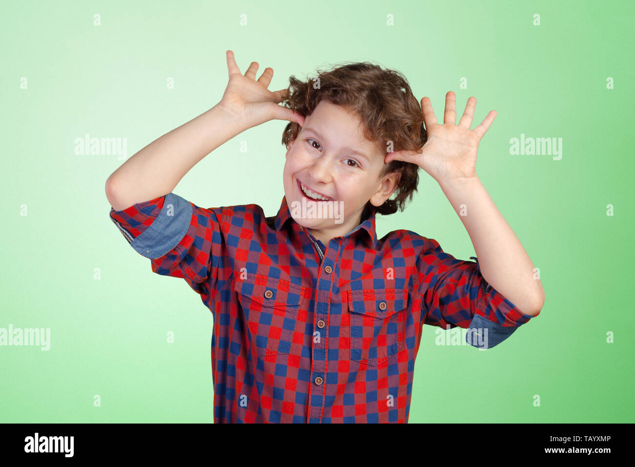 Portrait of funny little boy - Stock Image
