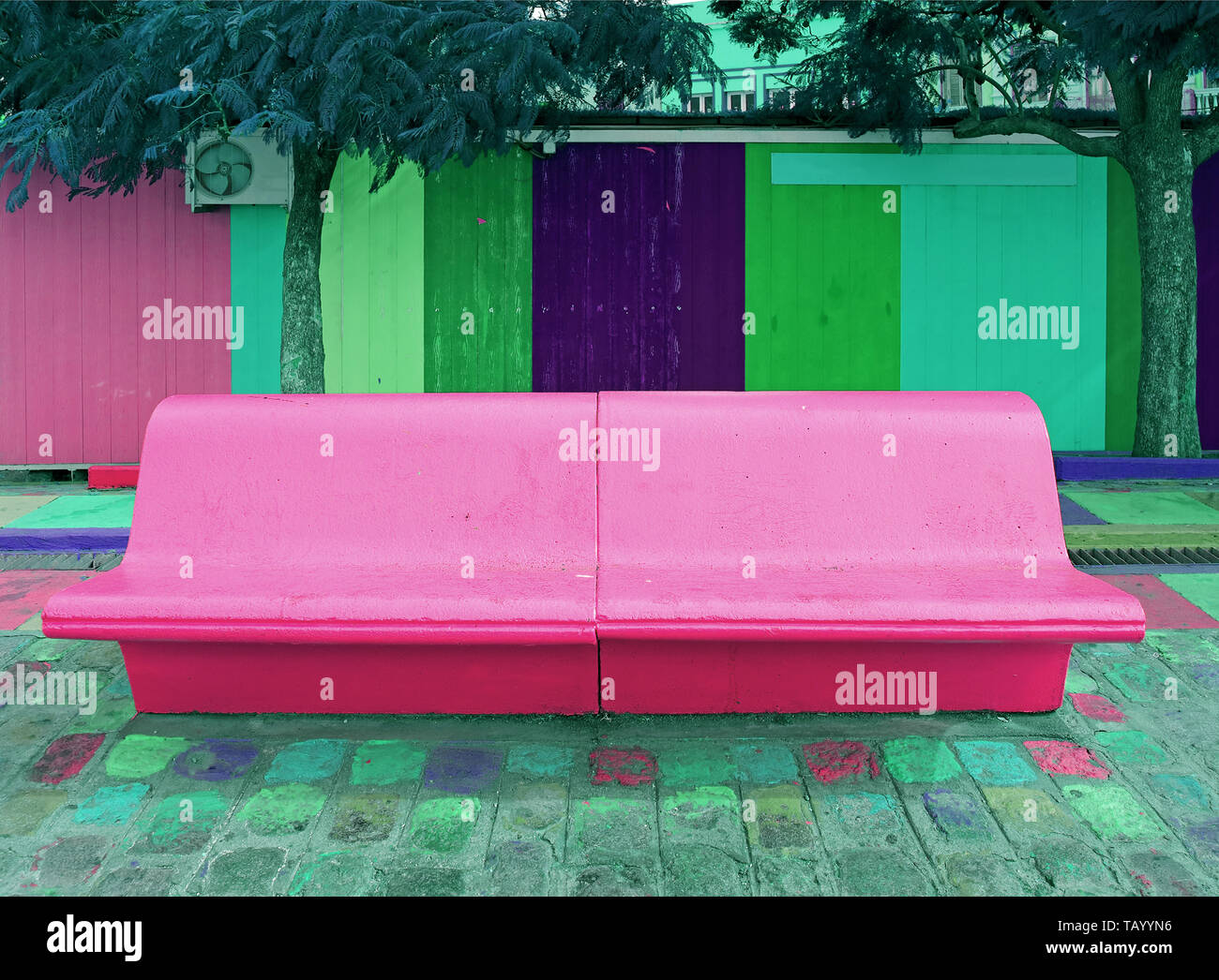 Admirable Concrete Bench In Shocking Pink Color With Colorful Wooden Onthecornerstone Fun Painted Chair Ideas Images Onthecornerstoneorg
