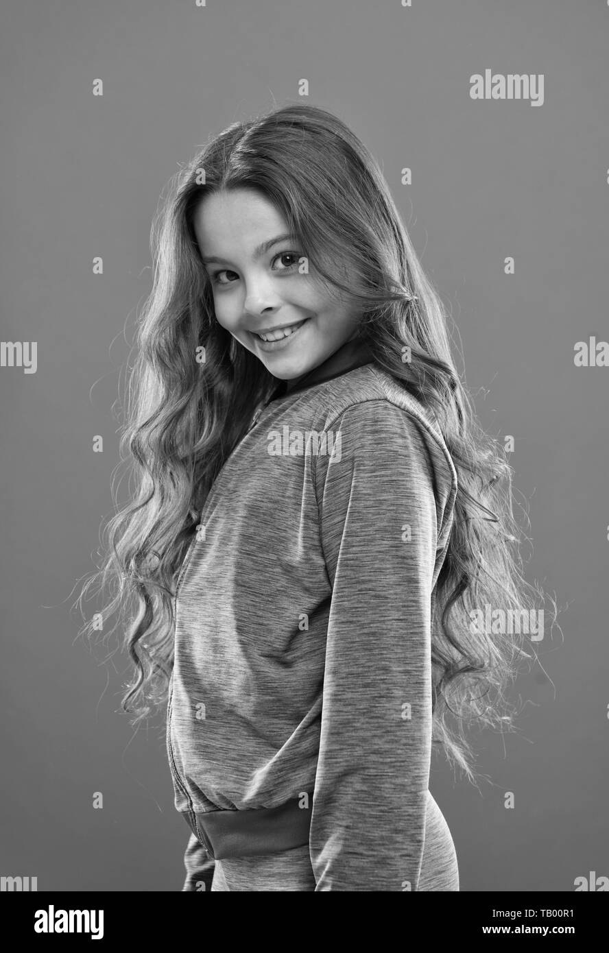 Girl Active Kid With Long Gorgeous Hair Strong And Healthy Hair
