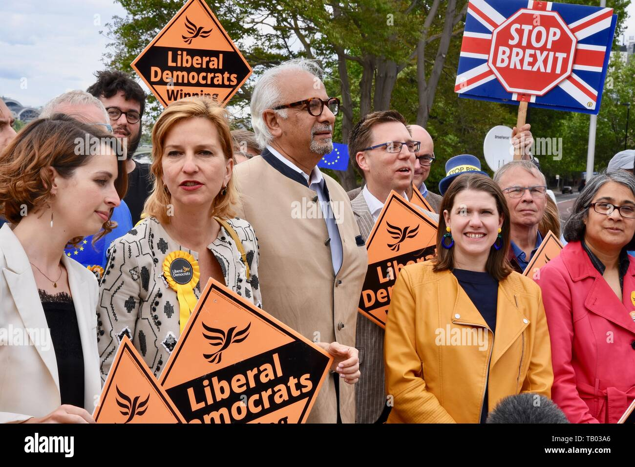 Jo Swinson MP was joined by activists and the party's three new MEPs for London to celebrate the best ever European Election results in the Party's History. Pictured : MEPs Luisa Porritt, Irina von Wiese and Dinesh Dhamija, and Jo Swinson MP. Lambeth Palace Road, London - Stock Image