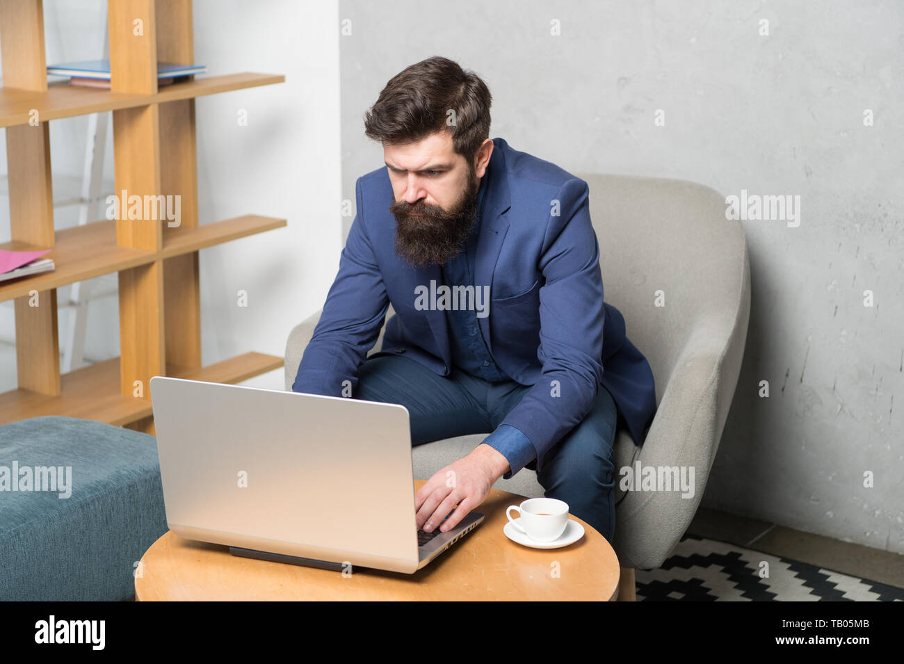 Businessman work laptop. Responding business email. Surfing internet. Project manager. Digital business. Financial consultation. Banker or accountant. Business correspondence. Modern businessman. - Stock Image