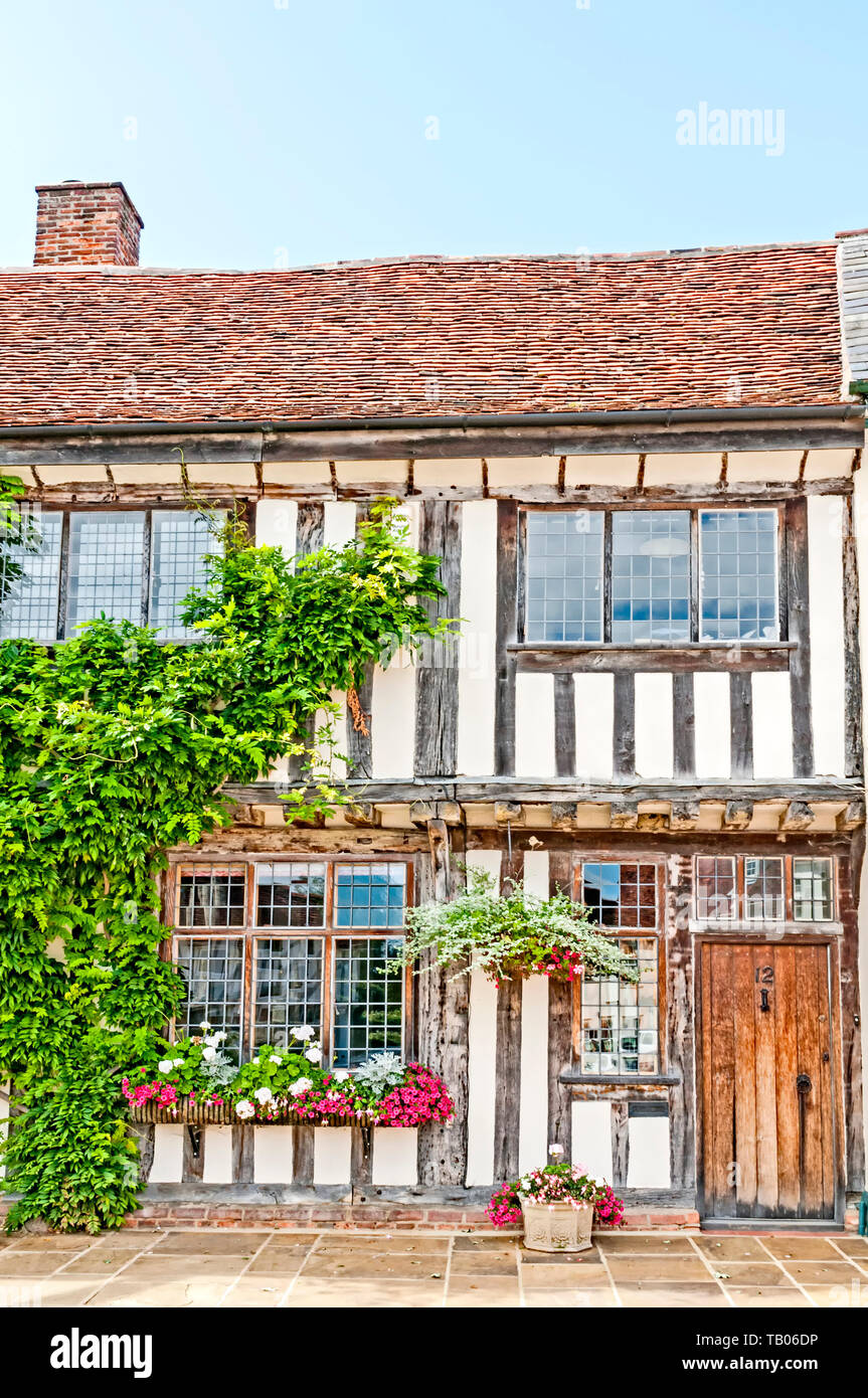 Houses and their windows in Lavenham, Suffolk, UK - Stock Image