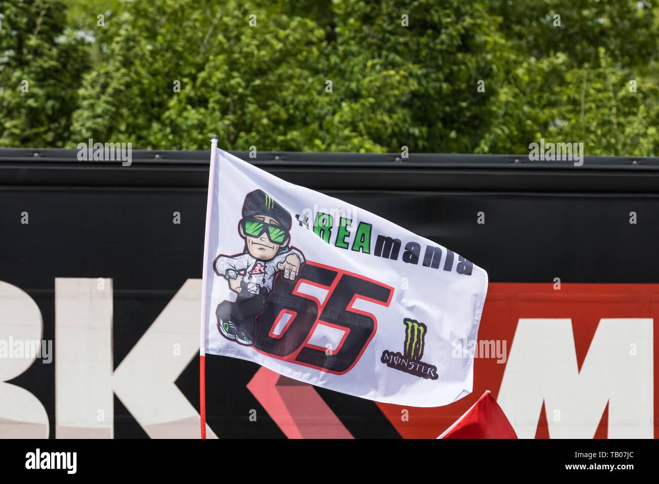 Jonathan Rea (professional motorcycle racer) fan club flag - Stock Image