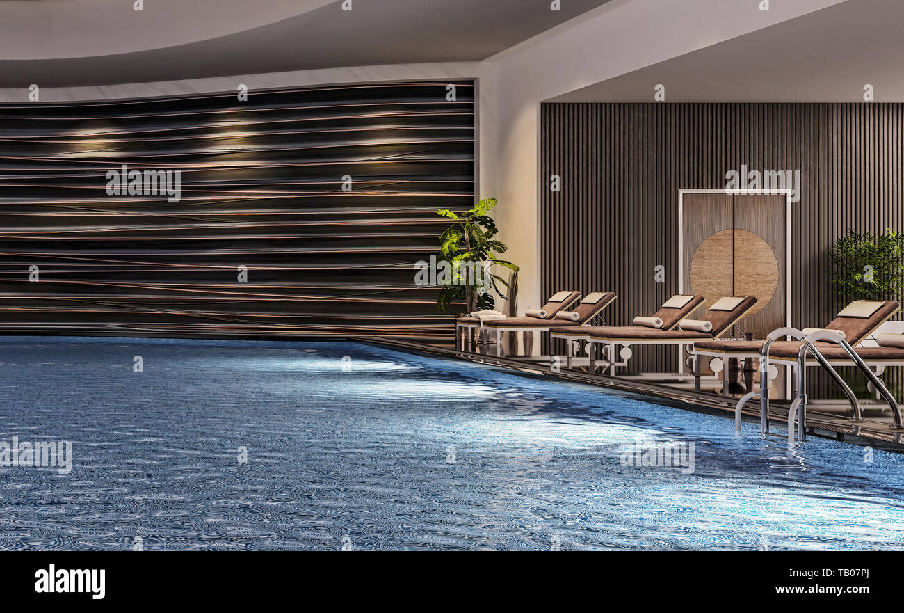 Modern interior design of indoor swimming pool with pool beds, night ...