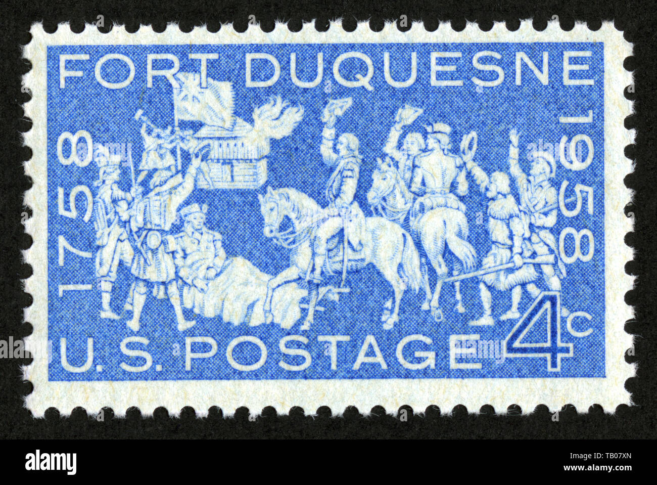 Stamp print in USA,1958, Fort Duquesne - Stock Image