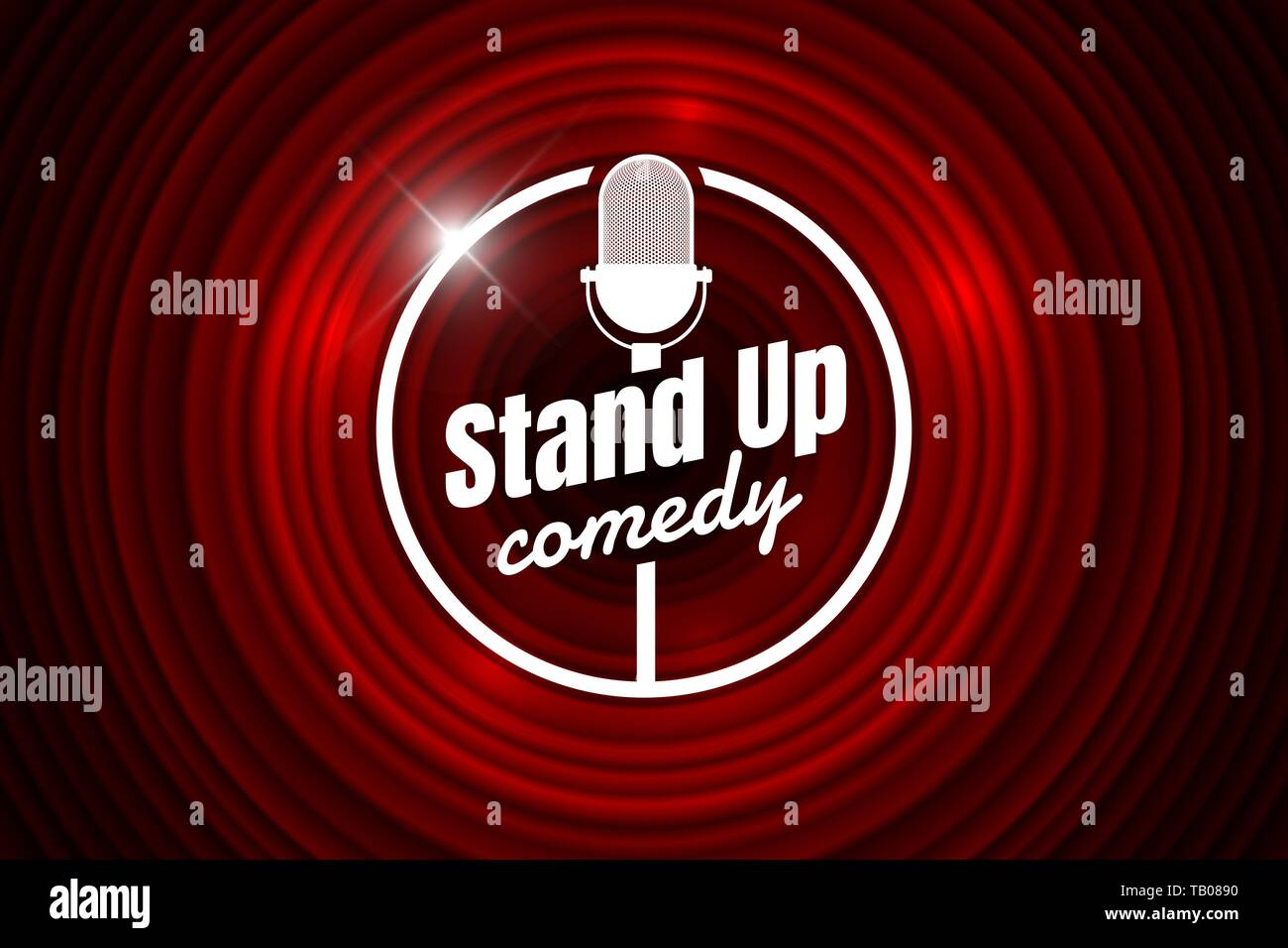 Stand up comedy night live show open mic on empty theatre stage. Vintage microphone against red curtain backdrop. Retro vector art image illustration. Stock Vector