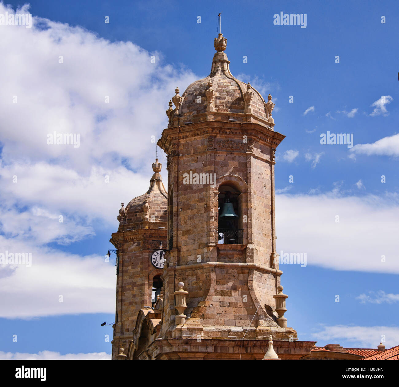 The Cathedral Basilica and main square, Potosí, Bolivia - Stock Image