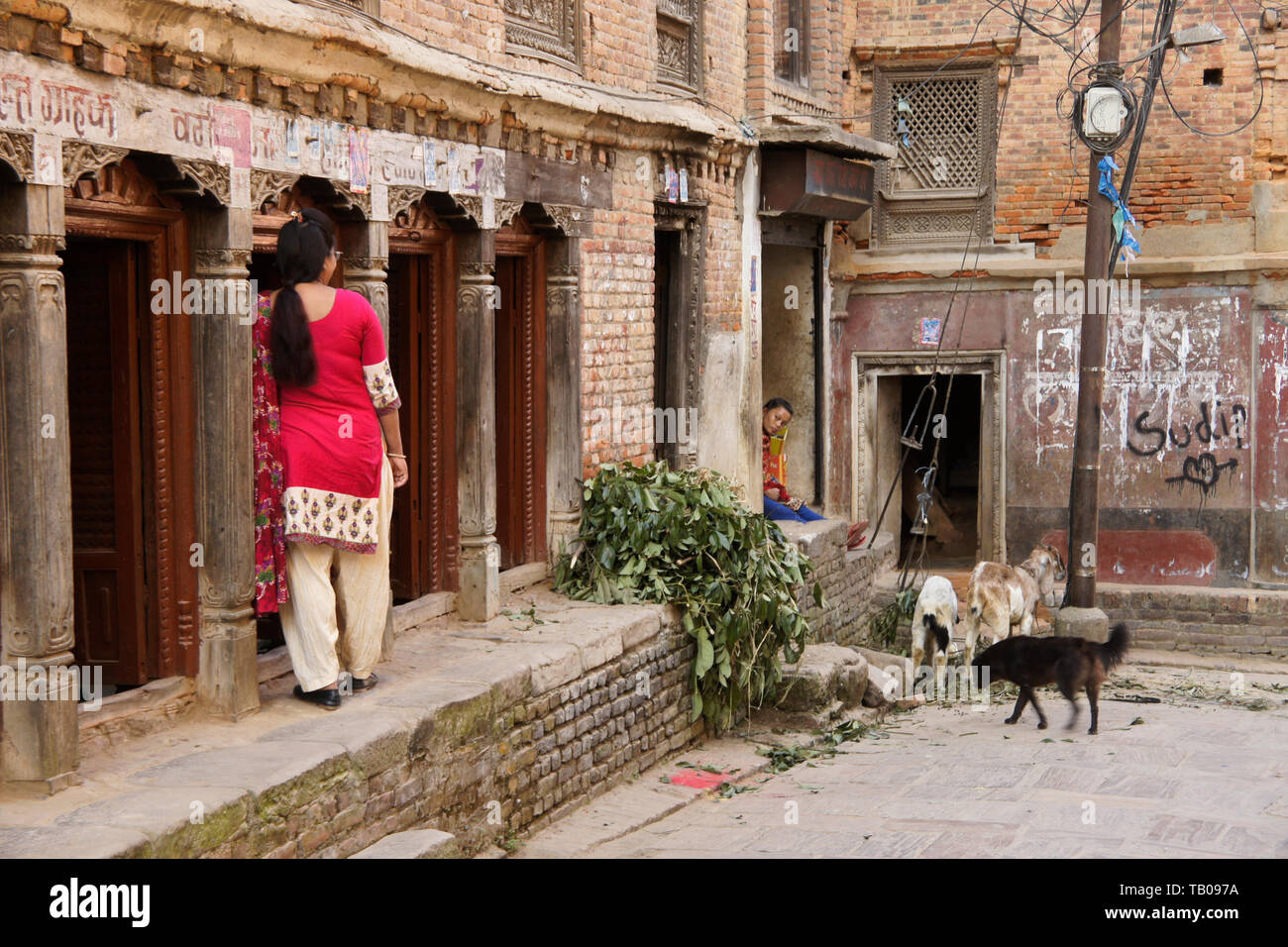Brick buildings in old town area of Dhulikhel, Nepal, with women, goats, and a dog - Stock Image