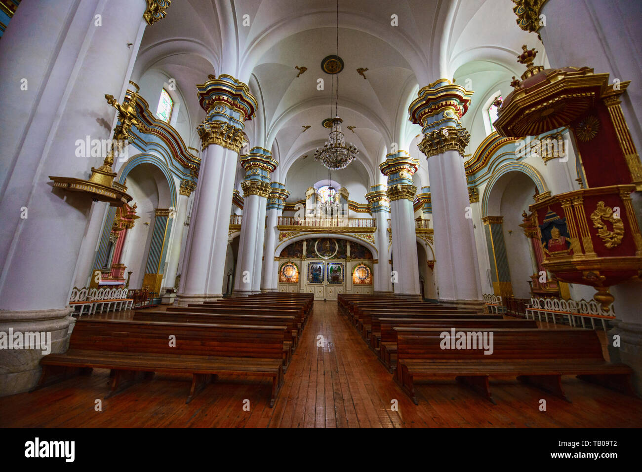 Interior of the Cathedral Basilica of Our Lady of Peace (Potosí Cathedral), Potosí, Bolivia - Stock Image