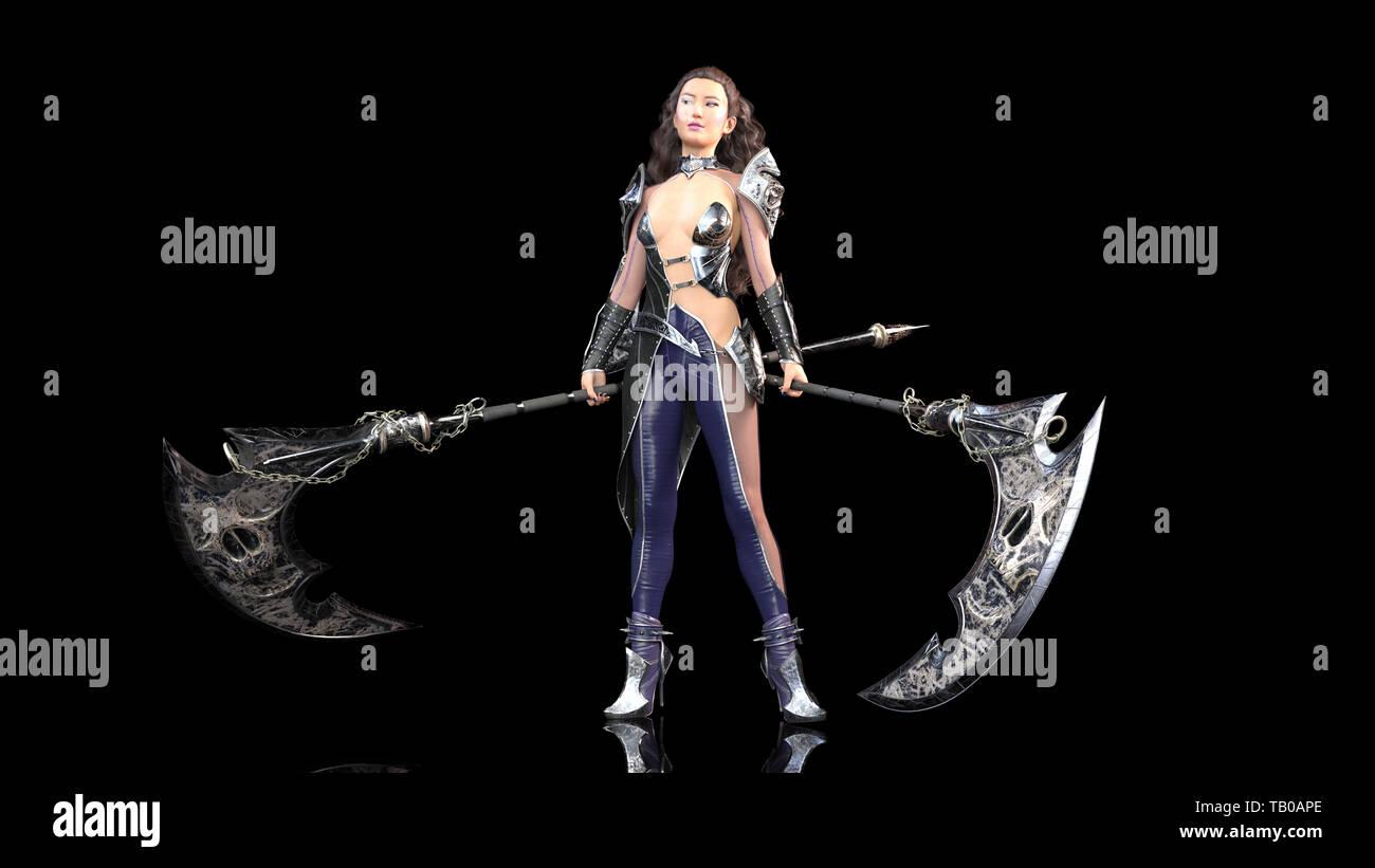 Ancient warrior princess, female fantasy fighter in battle