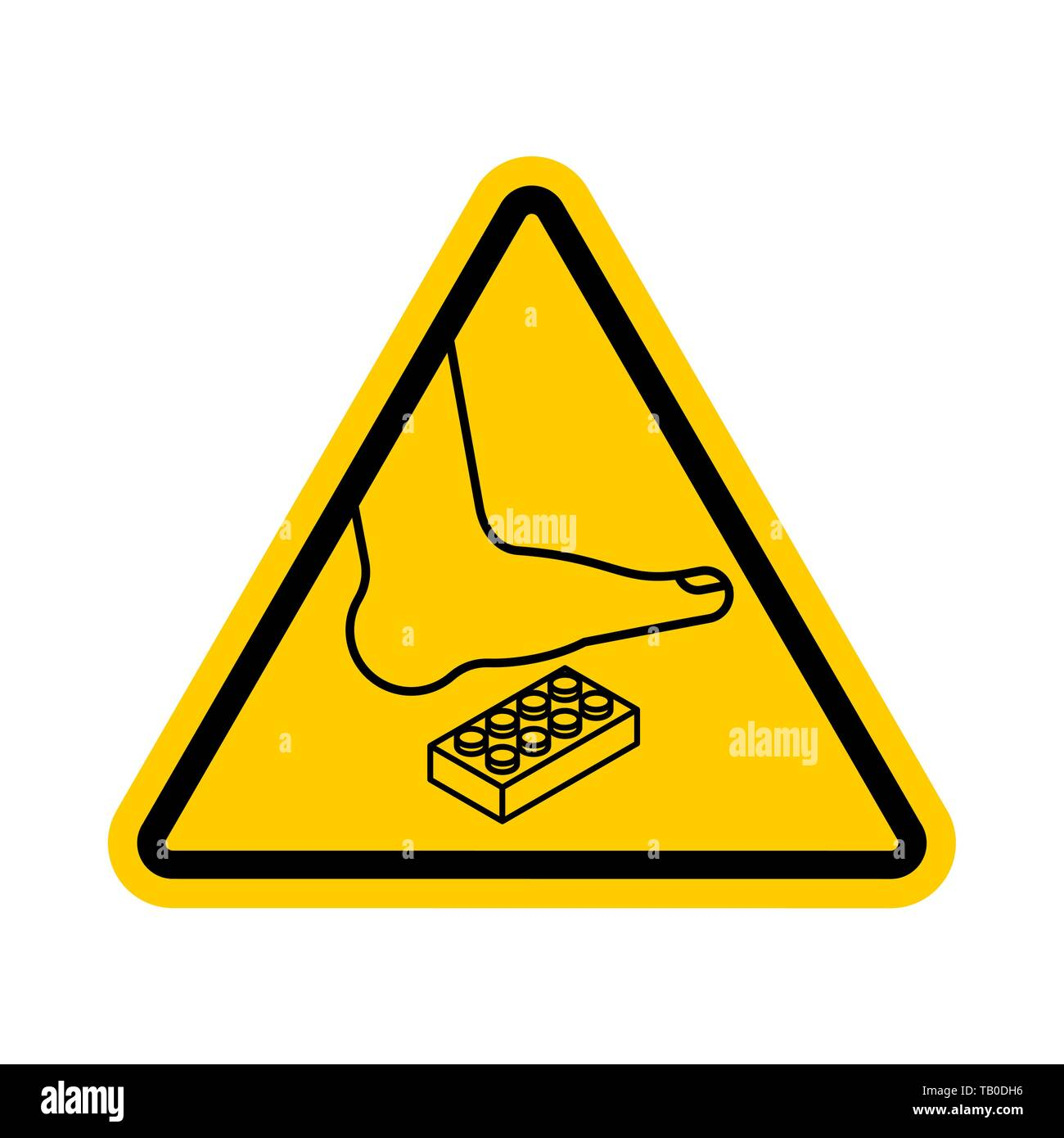 Attention Plastic construction Detail  Warning yellow road sign
