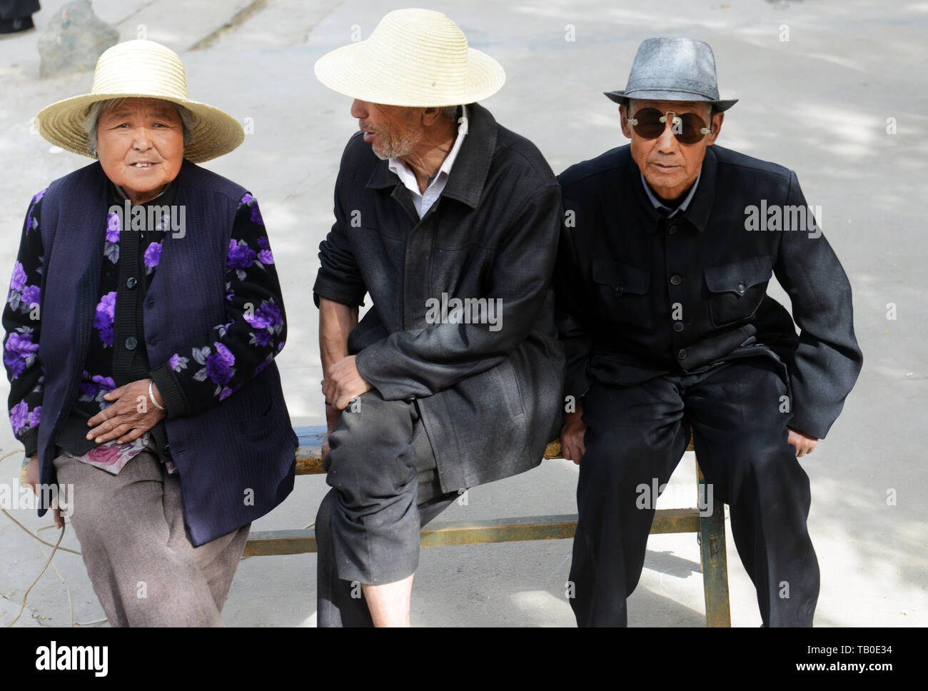 Terrific Elderly Chinese People Sitting On A Wooden Bench Stock Photo Bralicious Painted Fabric Chair Ideas Braliciousco