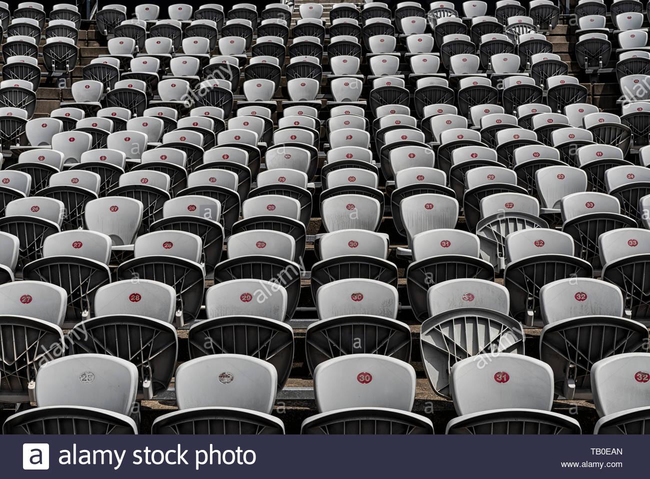 Empty rows of stadium seating Stock Photo