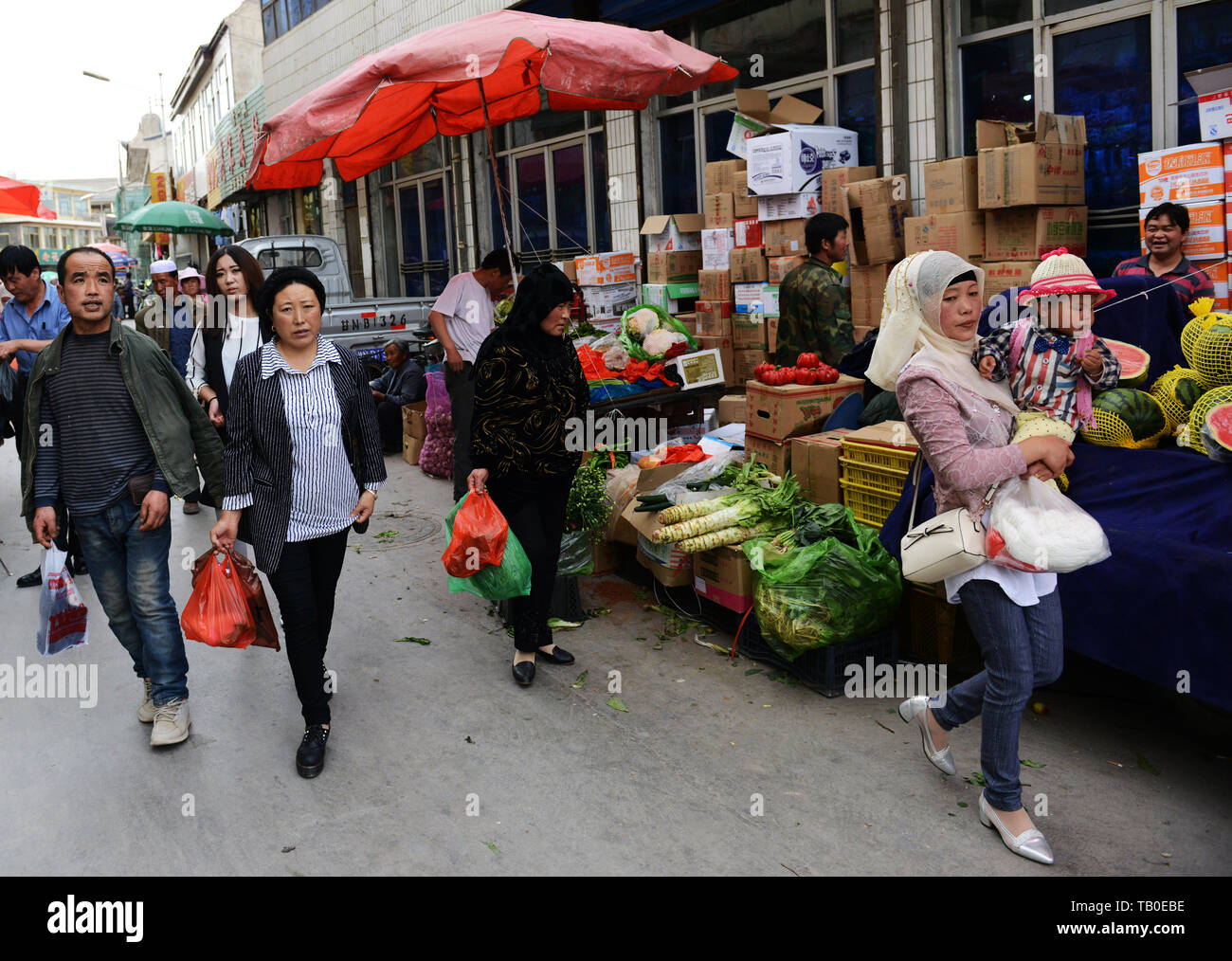 The vibrant market in Linxia, Gansu province, China. - Stock Image