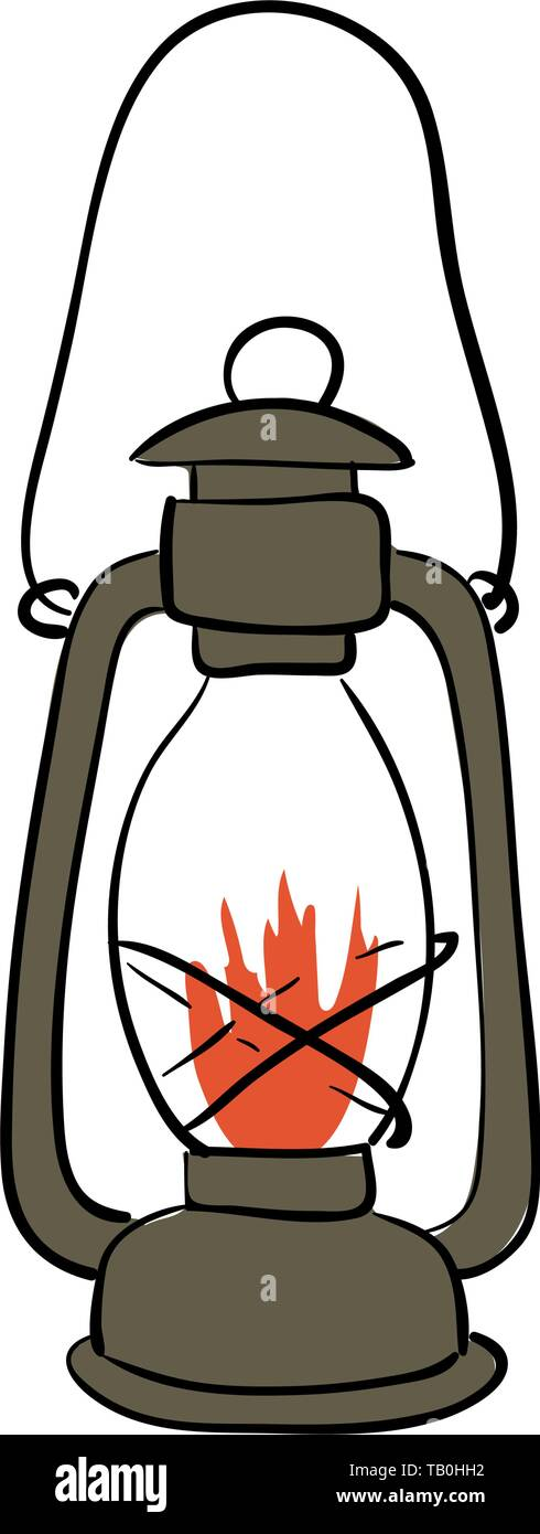 Gas lantern with burning light, isolated on a white background. An antique vintage lamp. - Stock Image