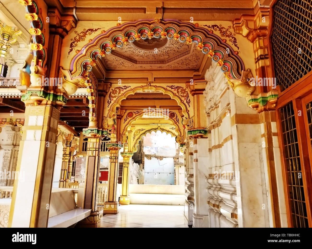 Exterior wooden architecture of Swaminarayan Temple, Kalupur, Ahmedabad in Gujarat, India. - Stock Image